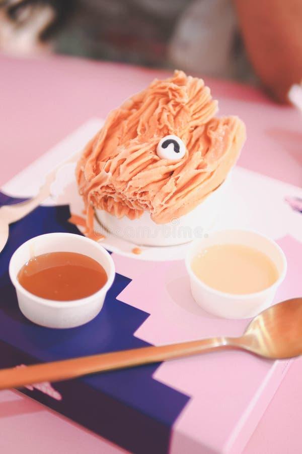 Thai tea shaved ice. royalty free stock photo