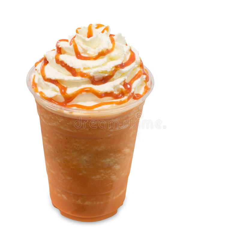 Thai tea smoothie in takeaway glass on white. Thai tea smoothie in takeaway glass isolated on white background with clipping path stock photos