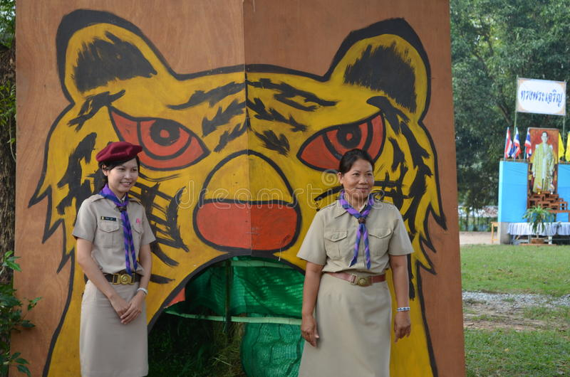 Thai teacher girl scouts royalty free stock photography