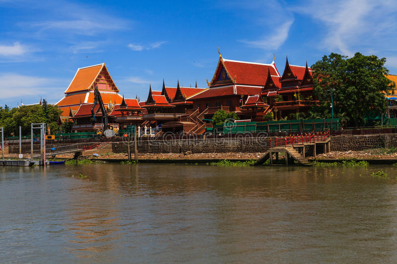 Thai temple at Ayutthaya in Thailand. And most famous for tourist take photo from the river stock images