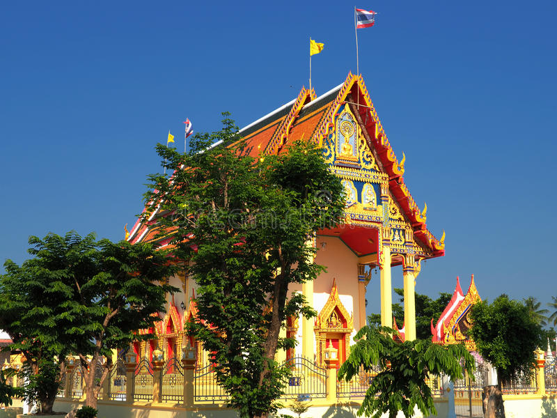 Thai temple bathed in morning light stock photos