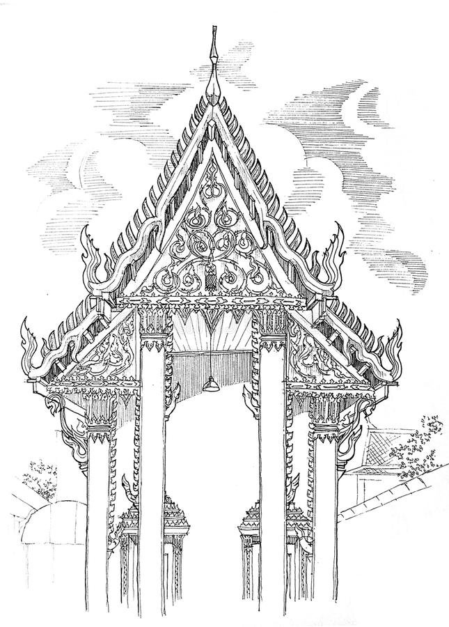 Thai temple elevation drawing stock photography