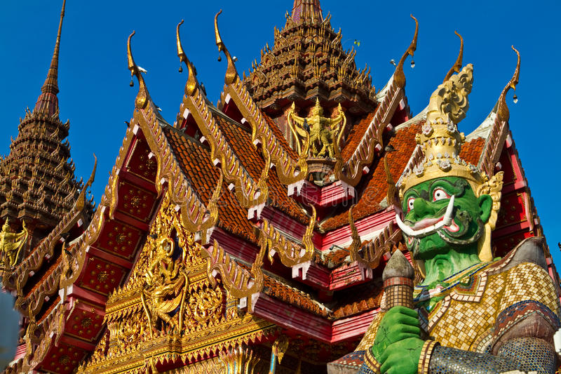 Thai Temple with Giant. South of Thailand royalty free stock photography