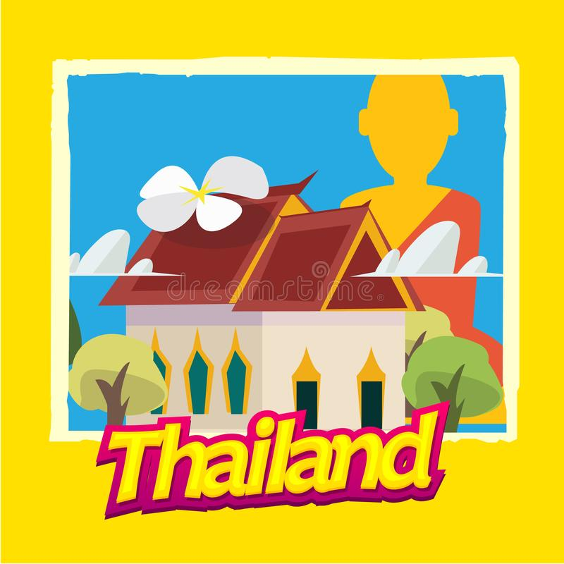Thai temple. main hall and Buddha statue in background with Thailand typographic. poster style - illustration. Thai temple. main hall and Buddha statue in vector illustration