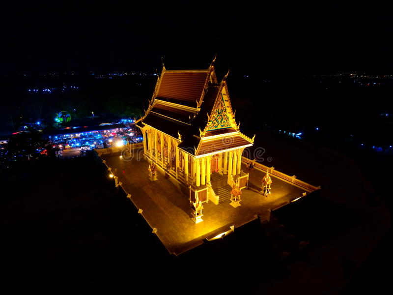 Thai temple at night is very beautiful stock images