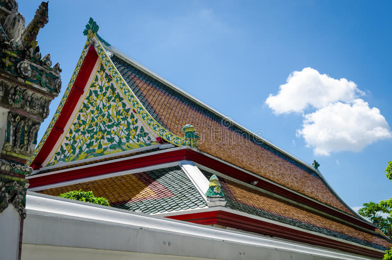 Thai temple roof. Art of Thai temple roof in Buddha religion royalty free stock image