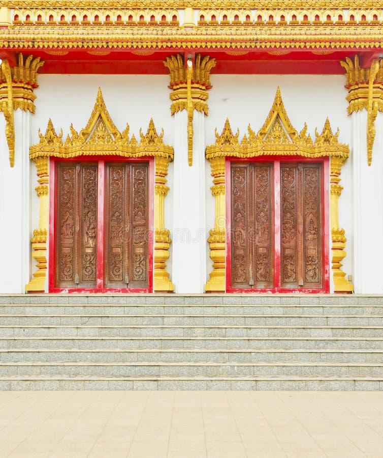 Thai temple style doors in Khon Kaen Thailand royalty free stock photo