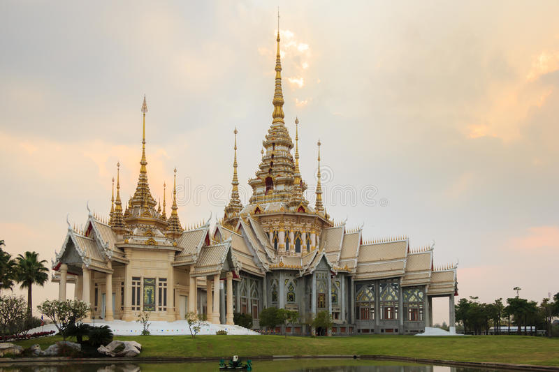 Thai Temple. On sunset in Nakhonratchasima province or Korat, North East Thailand royalty free stock photo