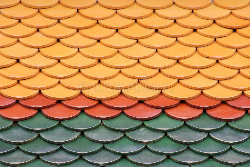 Thai temple tiles. In the temple of King Rama I stock image