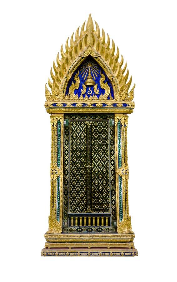 Thai temple window. Window of throne-hall Watcharee Romya, Sanamchan Palace. Nakhon Pathom Province Thailand stock photo