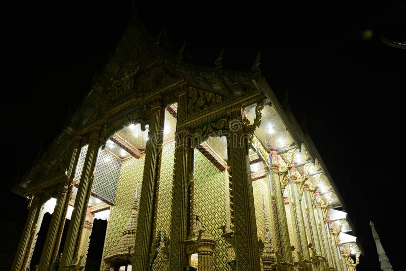 Thai temples are decorated by Thai pattern with gold stock photo