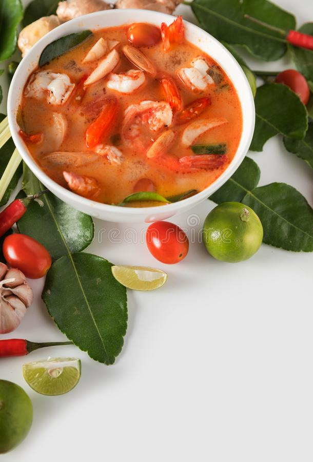 Thai Tom Yum Goong or spicy tom yum soup with prawns shrimps stock photo