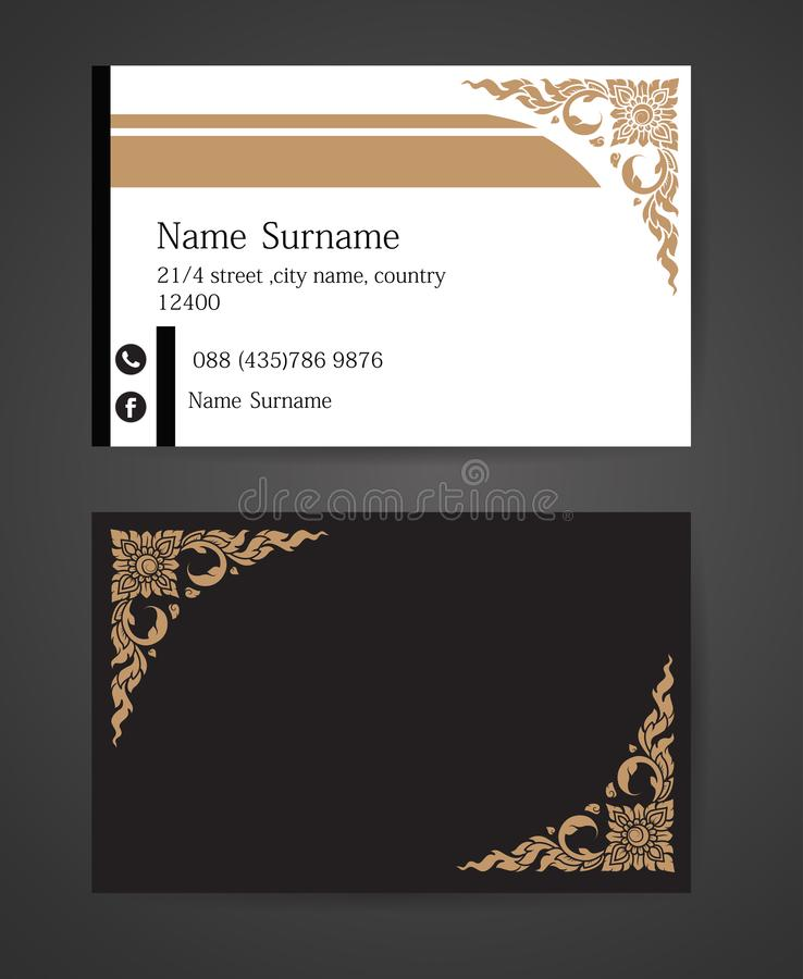 Thai tradition Creative and Clean Business Card Template. Vector thai tradition Creative and Clean Business Card Template stock illustration