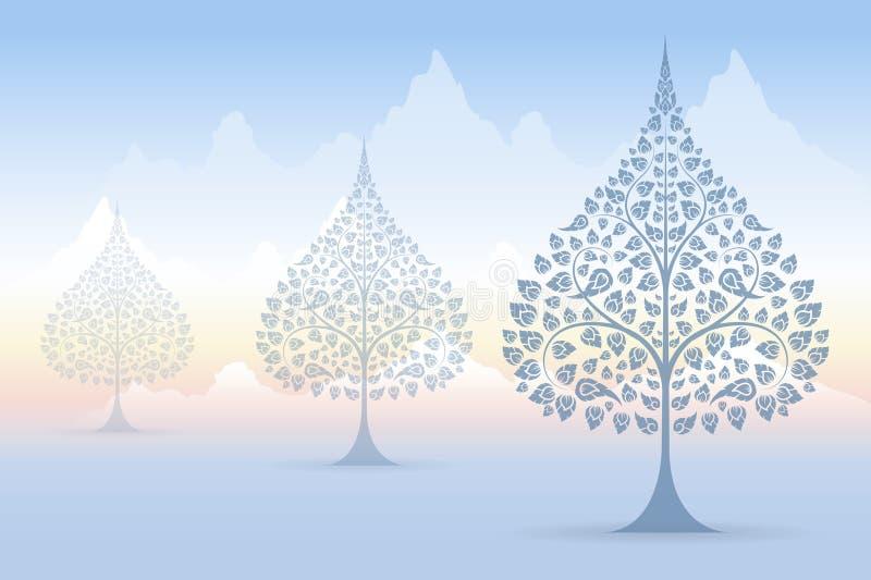 Thai tradition för Bodhi träd på bergbakgrund vektor illustrationer