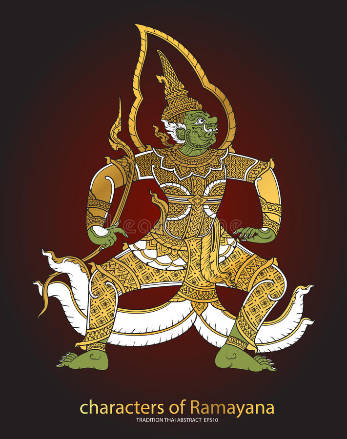 Thai tradition Giant characters of Ramayana vector illustration