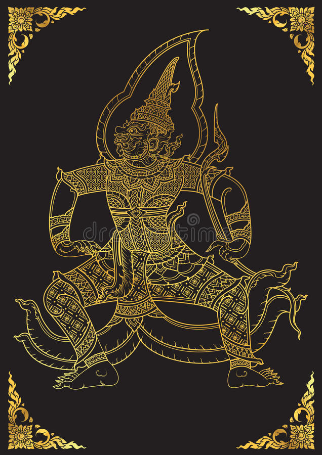 Thai tradition Giant characters of Ramayana royalty free illustration