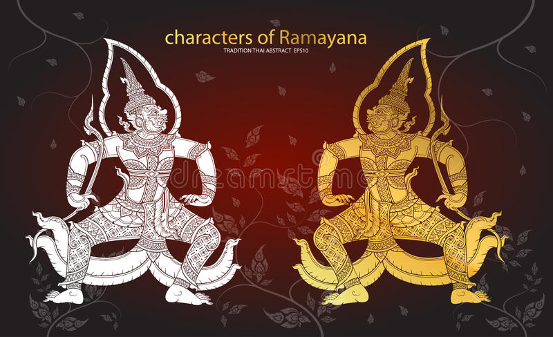 Thai tradition Giant characters of Ramayana. Vector royalty free illustration