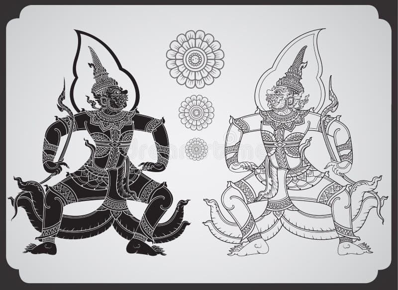 Thai tradition Giant outline stroke royalty free illustration