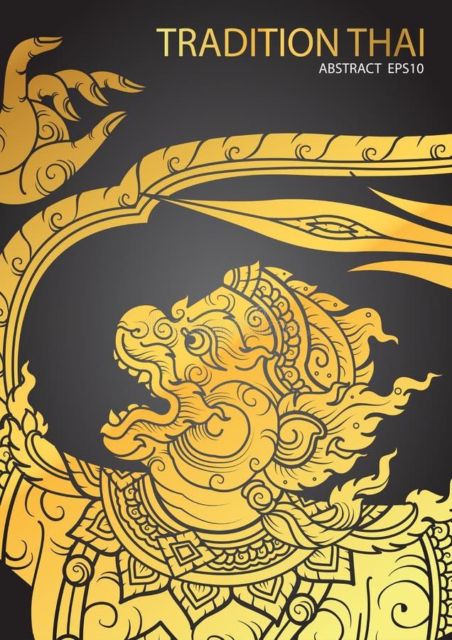 Thai tradition Hanuman characters of Ramayana. Vector vector illustration