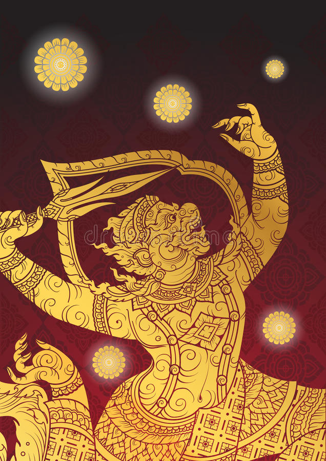 Thai tradition Hanuman characters of Ramayana. Vector stock illustration