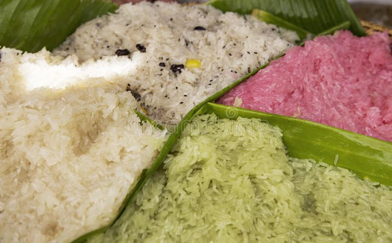Thai tradition sweet sticky rice dessert . Thai sweet dessert ca stock photo