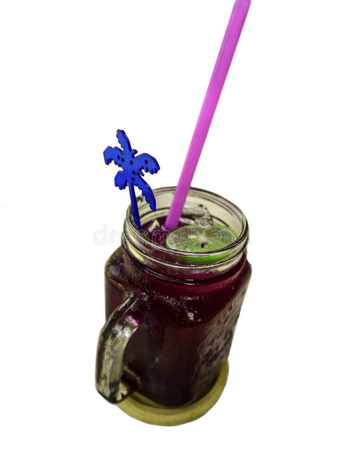 Thai traditional beverage, Crake soda lime juice with ice. Thai beverage, Crake soda lime juice with ice stock photos