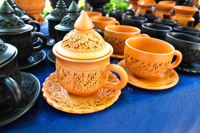 Thai Traditional Clay Pottery in Koh Kret Island stock photography