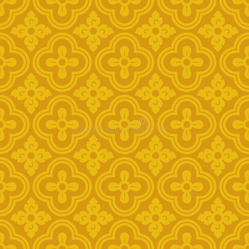 Thai traditional design line Thai with yellow gold flower diamond pattern texture background vector design vector illustration