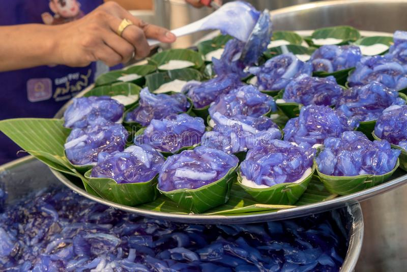 Thai traditional desserts in trays royalty free stock images