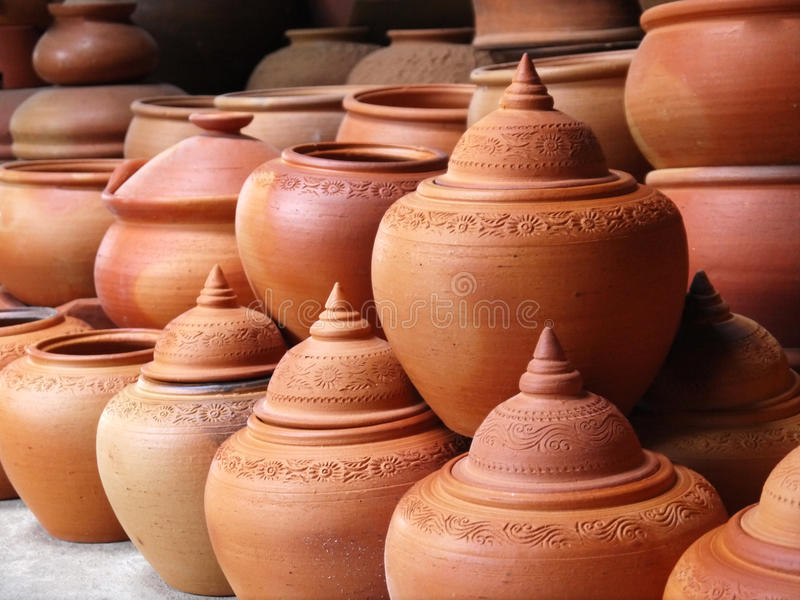 Thai traditional earthenware. Thai traditional clay pottery in ko Kret island, thailand stock photos