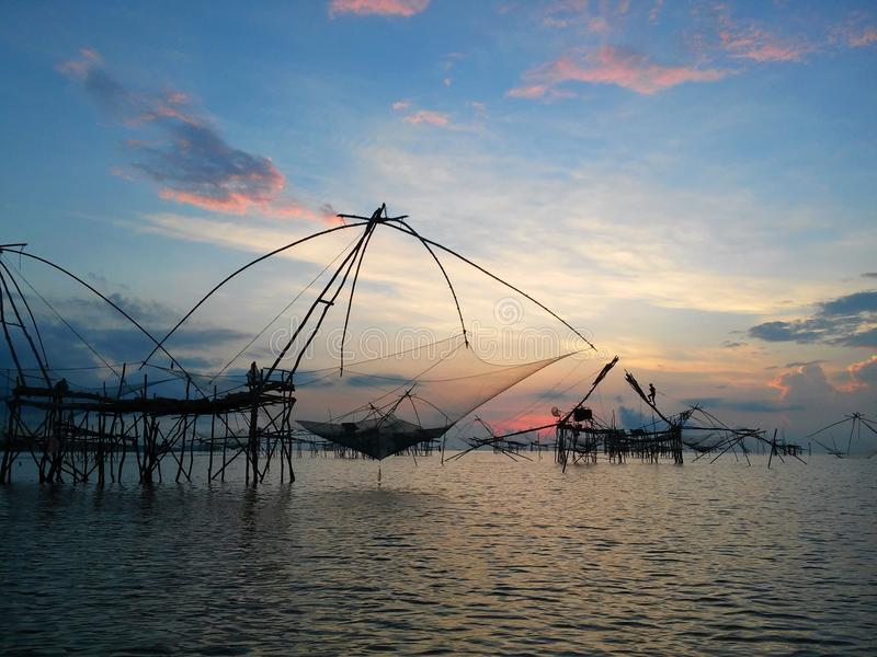 Thai traditional fishing trap royalty free stock images