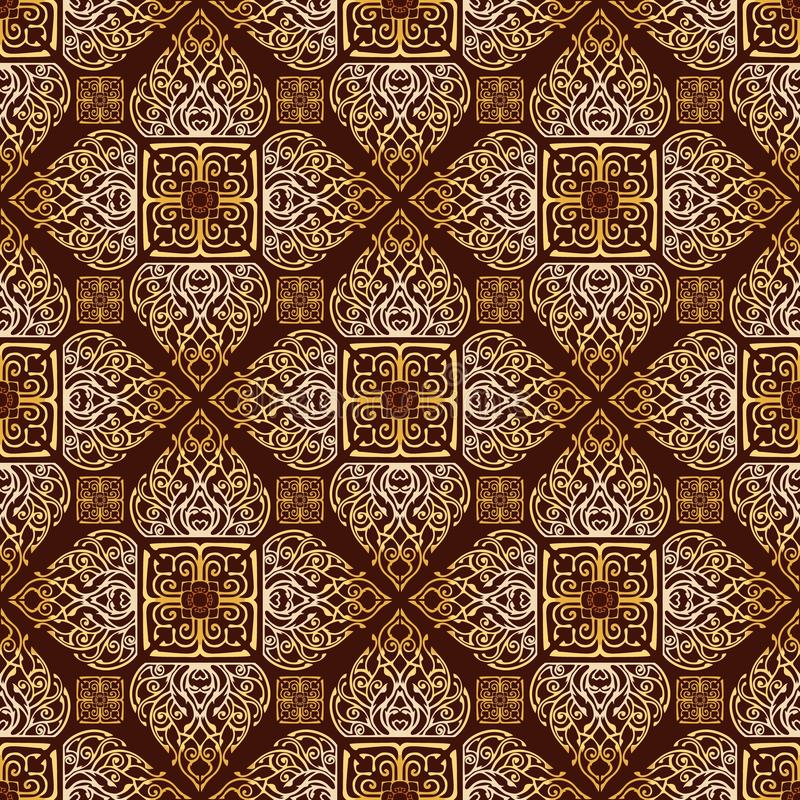 Thai traditional flower in diamond square shape Ornament seamless pattern stock photography