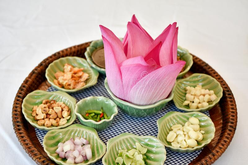 Thai traditional food, Asian raw healthy appetizer, Miang Kham lotus petals-wrapped. Thai traditional food, Asian raw healthy appetizer, Miang Kham lotus petals royalty free stock photo