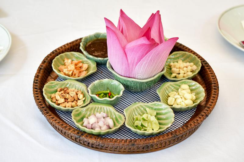 Thai traditional food, Asian raw healthy appetizer, Miang Kham lotus petals-wrapped. Thai traditional food, Asian raw healthy appetizer, Miang Kham lotus petals royalty free stock photos