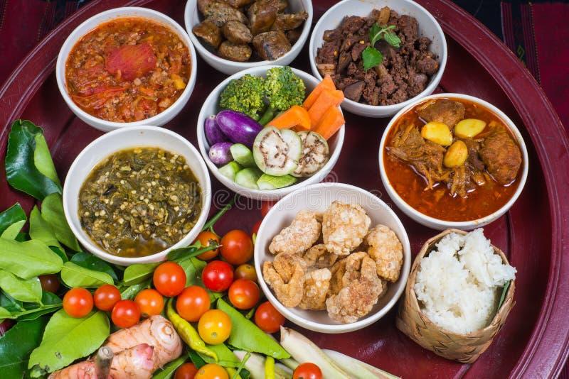 Thai traditional food dinner set called `Kantoke Dinner` stock photography
