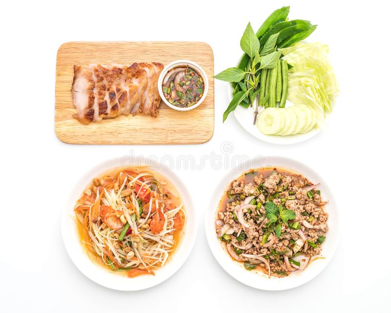 Thai Traditional Food Set ( Papaya Salad, Spicy mince pork, Grilled charcoal-boiled pork neck and Vegetable) stock images