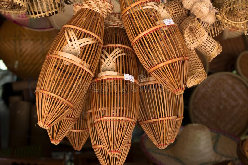 \'Thai traditional hand craft made by bamboo, Sale in the market beside the road in the north part of Thailand. I. \'Thai traditional hand craft made by bamboo royalty free stock photo