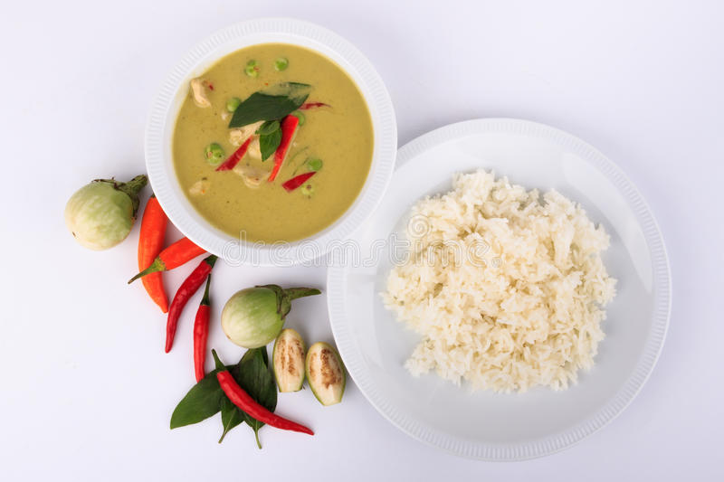 Thai traditional and popular food, Thai chicken green curry intense soup. stock photos