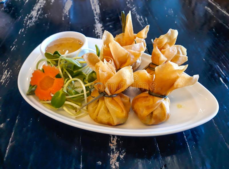 Thai Traditional Spring Rolls Toong Tong royalty free stock photo