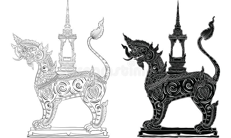 Thai traditional tattoo, Thai traditional painting in temple vector. Ancient painting vector illustration