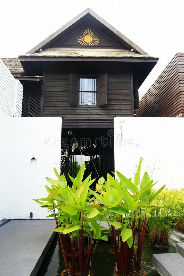 Thai traditional wood house royalty free stock image
