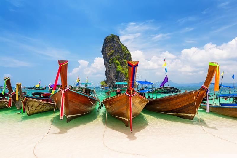 Thai traditional wooden longtail boat stock photography