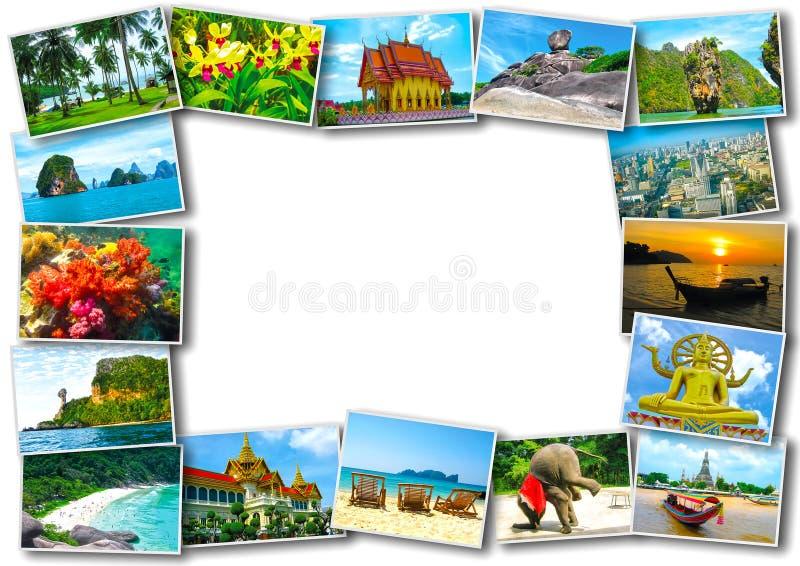 Thai travel tourism concept design - collage of Thailand images. Thai travel, tourism concept - collage of Thailand images on wooden background stock image