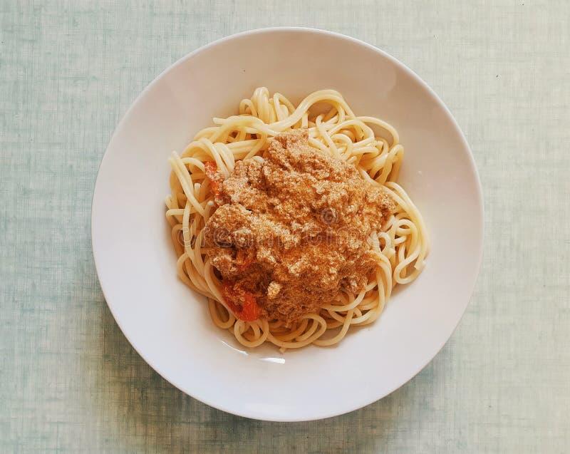 Thai tuna curry with spaghetti, fusion thai and italian food, thai street food, Italian pasta royalty free stock photography