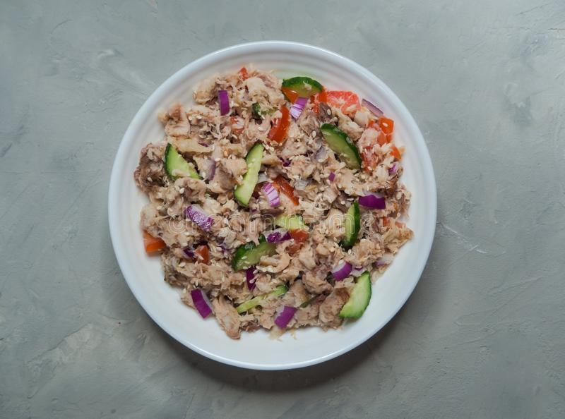 Thai Tuna Salad on the gray table. Top view. royalty free stock image