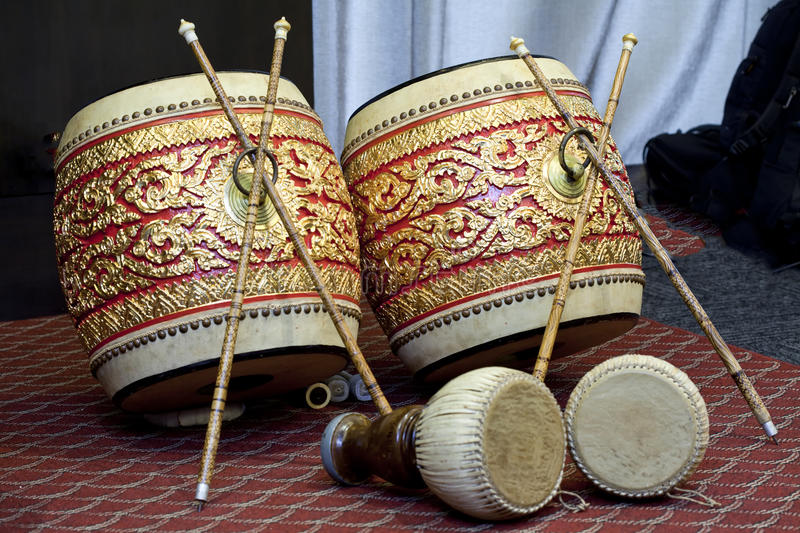 Thai twin drum. Have 2 size, big side have Thai pattern royalty free stock photo