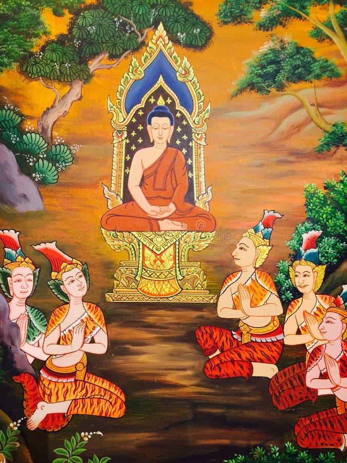 thai vägg- målning royaltyfri fotografi