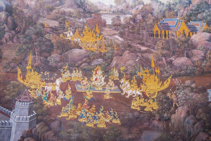 thai vägg- målning arkivfoto