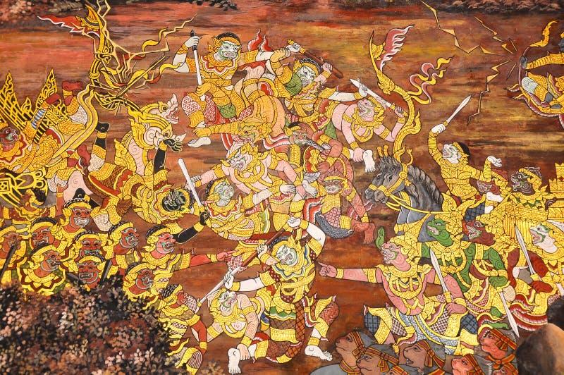 thai väggmålning royaltyfri foto