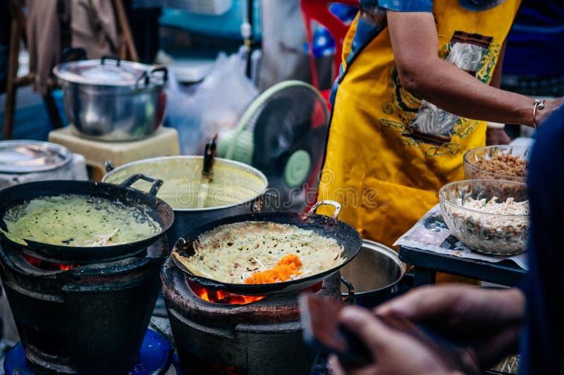 Thai - vietnamese style Homemade stuffed crispy egg crepe with stock image